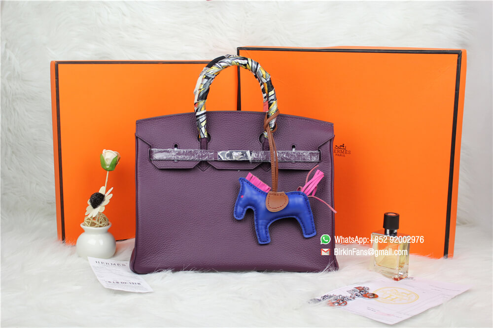 3f8b8454b02 Birkin 35 Bag in N5 Cassis Togo Leather with Silver and Palladium Hardware  Gifts Rodeo Charm